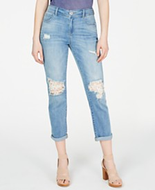 I.N.C. Lace-Detailed Boyfriend Jeans, Created for Macy's