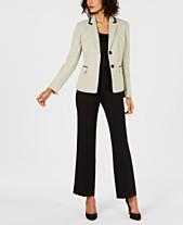 dd81bc04d28 Le Suit Petite Two-Button Dot-Print Jacket Pantsuit