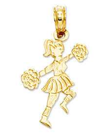 14k Gold Charm, Cheerleader with Pom-Poms Charm
