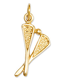 14k Gold Charm, Solid Polished Lacrosse Sticks Charm
