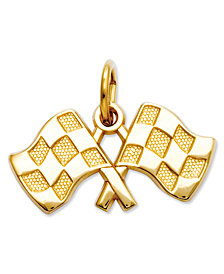 14k Gold Charm, Racing Flags Charm