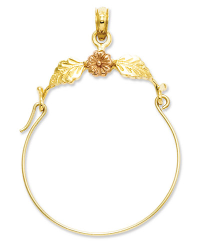 14k Gold and 14k Rose Gold Charm Holder, Flower and Leaf Charm Holder