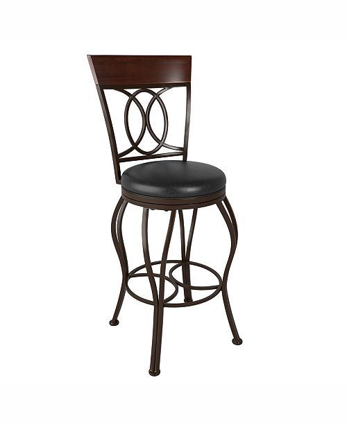 Corliving Distribution Corliving Metal Bar Height Barstool with Bonded Leather Seat