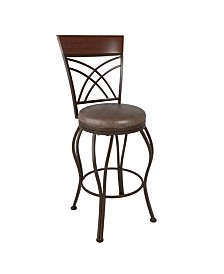 Corliving Metal Bar Height Barstool with Bonded Leather Seat