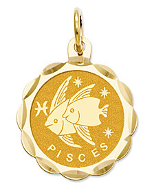 14k Gold Charm, Satin Polished Engraveable Pisces Zodiac Disc Charm