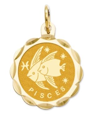 14k Gold Charm, Satin Polished Engraveable Pisces Zodiac Disc Charm