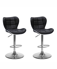 Adjustable Chrome Accented Barstool in Bonded Leather, Set of 2