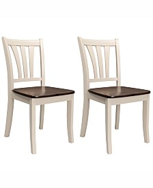 Corliving Solid Wood Dining Chairs with Curved Vertical Slat Backrest, Set of 2