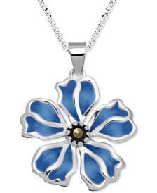 """Marcasite & Enamel Flower 18"""" Pendant Necklace in Fine Silver-Plate"""