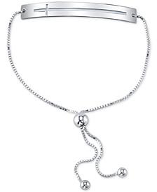 Open East-West Cross Bar Bolo Bracelet in Sterling Silver