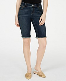 I.N.C Frayed-Hem Denim Bermuda Shorts in Curvy, Created for Macy's