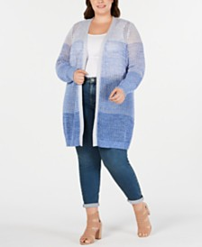 I.N.C. Plus Size Ombré Cardigan, Created for Macy's