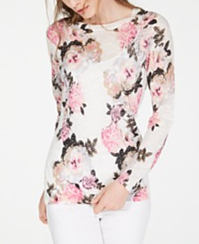 I.N.C. Floral Pullover Sweater, Created for Macy's