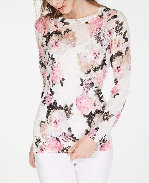 INC International Concepts I.N.C. Floral Pullover Sweater, Created for Macy's