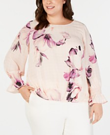 Alfani Plus Size Pleated Tuck-Front Blouse, Created for Macys