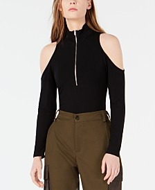 Waisted Zip-Front Cold-Shoulder Bodysuit