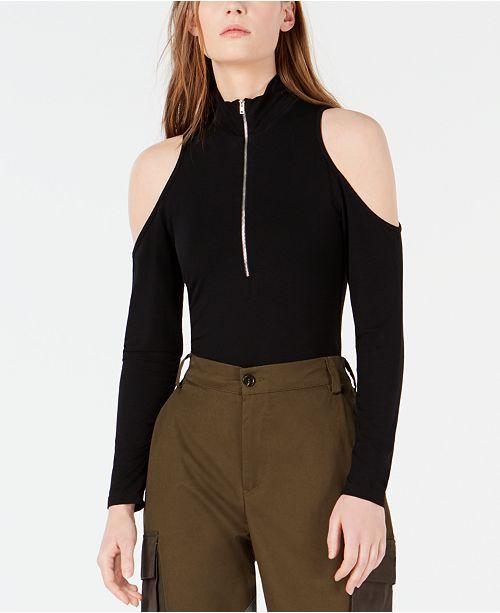 Waisted Zip-Front Cold-Shoulder Bodysuit
