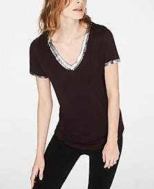 INC Petite Metallic-Trim T-Shirt, Created for Macy's