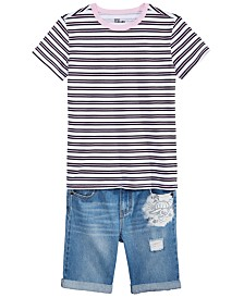 Epic Threads Big Boys Pink Striped Shirt & Denim Jeans Shorts Separates, Created for Macy's