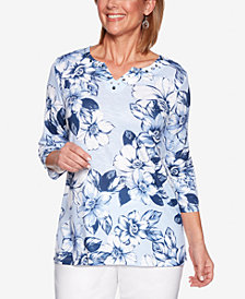 Alfred Dunner Classic Printed Rhinestone-Embellished Top