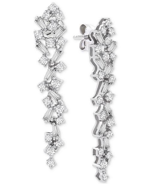 Macy's Wrapped in Love™ Diamond Scatter Drop Earrings (1 ct. t.w.) in 14k White Gold, Created for Macy's