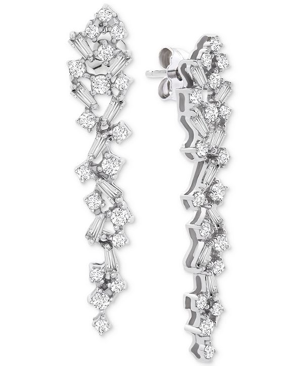 Wrapped in Love Diamond Scatter Drop Earrings (1 ct. t.w.) in 14k White Gold, Created for Macy's