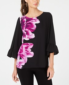 Alfani Petite Bell-Sleeve Floral-Print Top, Created for Macy's