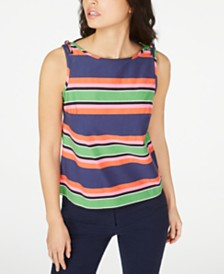 Trina Turk Striped Tie-Shoulder Sleeveless Top