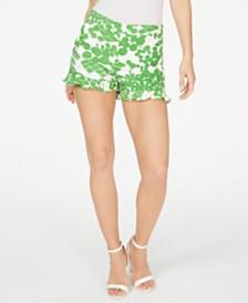Trina Turk Printed Ruffle-Hem Shorts