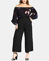 35efcb39582bf6 City Chic Trendy Plus Size Side-Button Cropped Pants