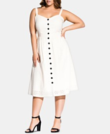 City Chic Trendy Plus Size Eyelet Midi Dress