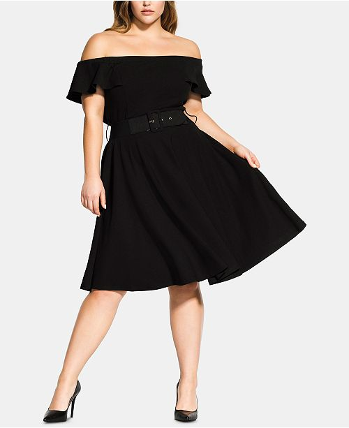 City Chic Trendy Plus Size Off-The-Shoulder Fit & Flare Dress