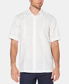 Cubavera Men's Embroidered Panel Linen Blend Shirt