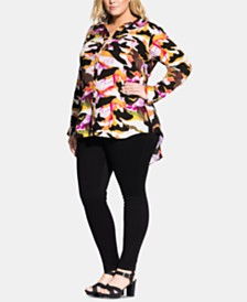 City Chic Trendy Plus Size Camo-Print Shirt