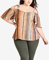 209b835111215e City Chic Trendy Plus Size Printed Cold-Shoulder Top