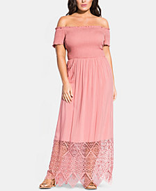City Chic Trendy Plus Size Embroidered Off-The-Shoulder Maxi Dress
