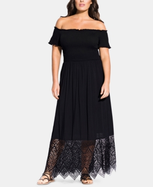 City Chic Dresses TRENDY PLUS SIZE EMBROIDERED OFF-THE-SHOULDER MAXI DRESS