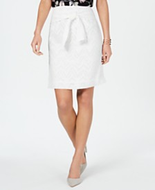 Nine West Belted Burnout Skirt