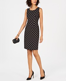 Kasper Petite Polka-Dot Sheath Dress