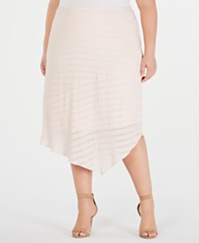 Alfani Plus Size Novelty Pointed-Hem Midi Skirt, Created for Macy's