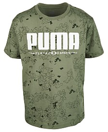 Puma Big Boys Log Printed Cotton T-Shirt