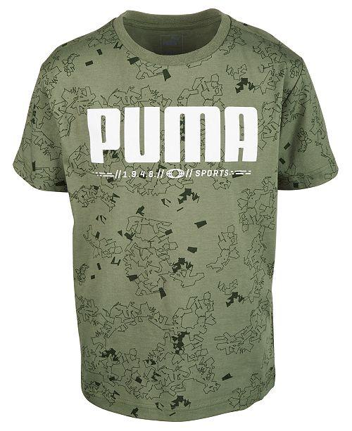 Puma Big Boys Log Printed Cotton T-Shirt