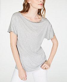 I.N.C. Short-Sleeve Jewel-Embellished Top, Created for Macy's