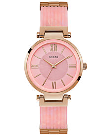 GUESS Women's Pink & Rose Gold-Tone Bracelet Watch 36mm