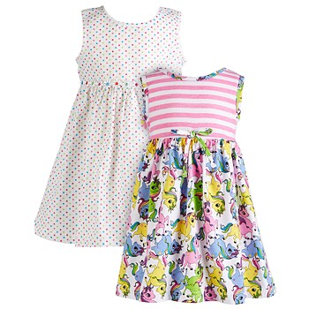 2-Pack Blueberi Boulevard Baby Girls Printed Dresses