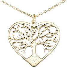 "Italian Gold Family Tree 18"" Pendant Necklace in 10k Gold"