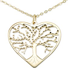 "Italian Gold Family Tree 18"" Pendant Necklace in 10k Gold"