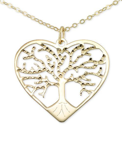 """Italian Gold Tree of Life 18"""" Pendant Necklace in 10k Gold"""