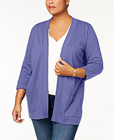 Karen Scott Plus Size Cotton 3/4-Sleeve Cardigan, Created for Macy's
