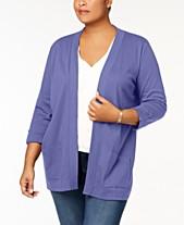 7a23ca738d85c Karen Scott Plus Size Cotton 3 4-Sleeve Cardigan